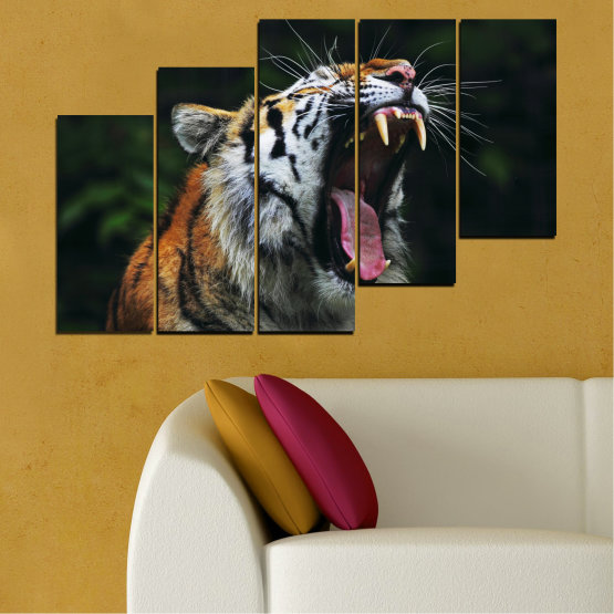Canvas prints & wall decorative panels - 5 pieces №0265 » Brown, Black, Gray, Dark grey » Animal, Portrait, Tiger Form #8