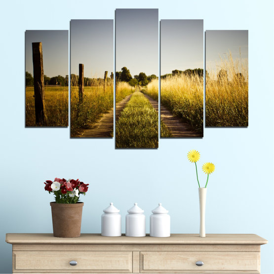 Canvas prints & wall decorative panels - 5 pieces №0266 » Brown, Black, Gray, Dark grey » Nature, Landscape, Road, Field Form #1