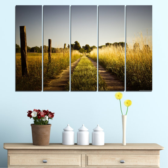 Canvas prints & wall decorative panels - 5 pieces №0266 » Brown, Black, Gray, Dark grey » Nature, Landscape, Road, Field Form #2
