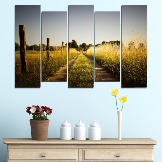 Canvas prints & wall decorative panels - 5 pieces №0266 » Brown, Black, Gray, Dark grey » Nature, Landscape, Road, Field Form #3
