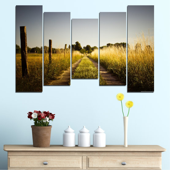 Canvas prints & wall decorative panels - 5 pieces №0266 » Brown, Black, Gray, Dark grey » Nature, Landscape, Road, Field Form #4