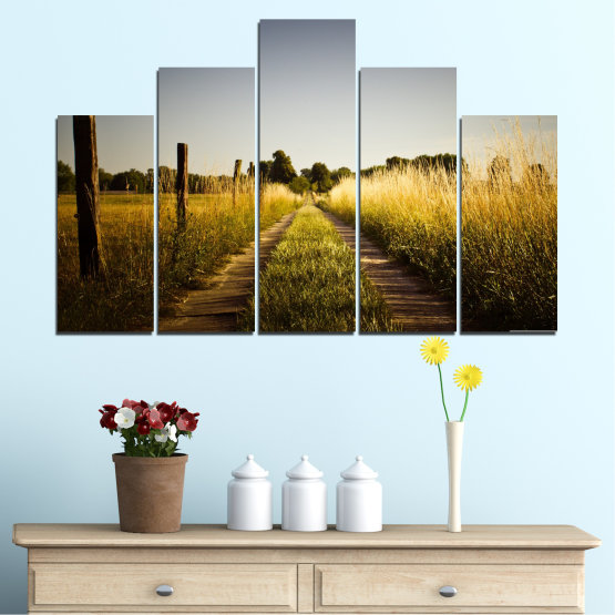 Canvas prints & wall decorative panels - 5 pieces №0266 » Brown, Black, Gray, Dark grey » Nature, Landscape, Road, Field Form #5