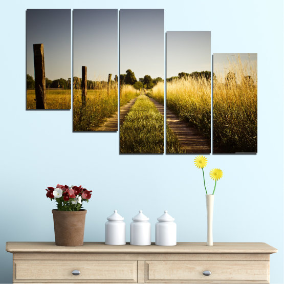 Canvas prints & wall decorative panels - 5 pieces №0266 » Brown, Black, Gray, Dark grey » Nature, Landscape, Road, Field Form #7