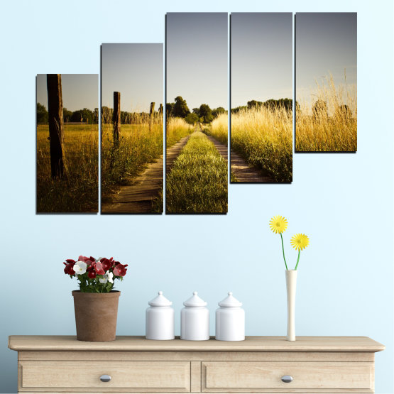 Canvas prints & wall decorative panels - 5 pieces №0266 » Brown, Black, Gray, Dark grey » Nature, Landscape, Road, Field Form #8