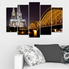 City, Night, Bridge, Germany, Cathedral » Brown, Black, Gray, Dark grey