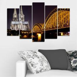 Град, Нощ, Мост, Германия, Катедрала » Кафяв, Черен, Сив, Тъмно сив