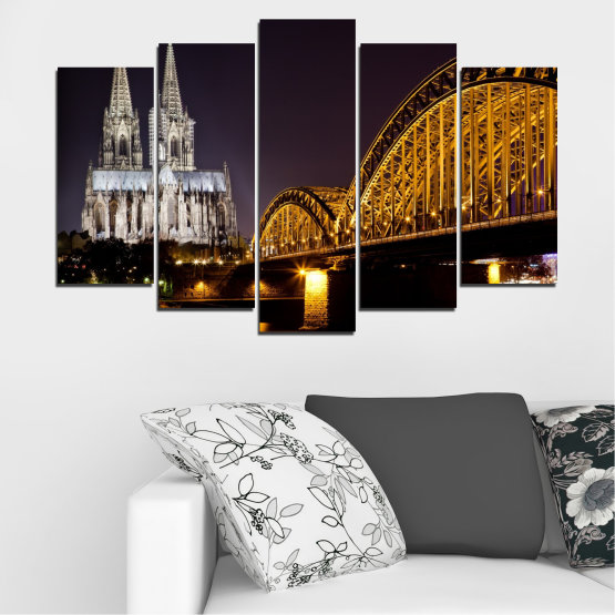 Canvas prints & wall decorative panels - 5 pieces №0267 » Brown, Black, Gray, Dark grey » City, Night, Bridge, Germany, Cathedral Form #1