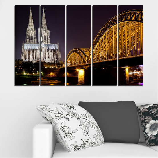 Canvas prints & wall decorative panels - 5 pieces №0267 » Brown, Black, Gray, Dark grey » City, Night, Bridge, Germany, Cathedral Form #2