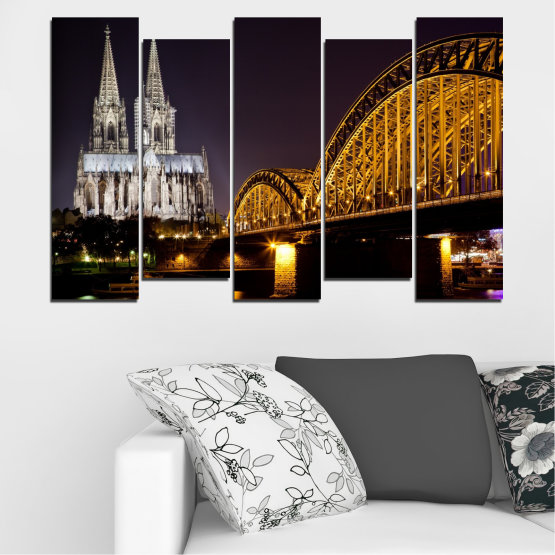 Canvas prints & wall decorative panels - 5 pieces №0267 » Brown, Black, Gray, Dark grey » City, Night, Bridge, Germany, Cathedral Form #3