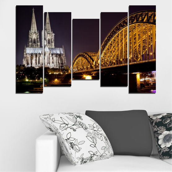 Canvas prints & wall decorative panels - 5 pieces №0267 » Brown, Black, Gray, Dark grey » City, Night, Bridge, Germany, Cathedral Form #4