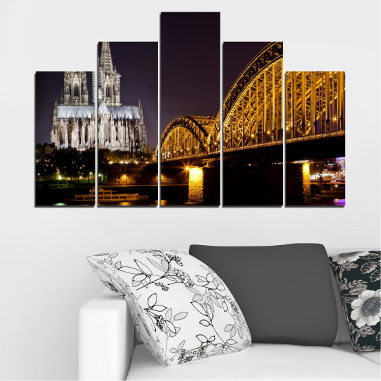 Canvas prints & wall decorative panels - 5 pieces №0267 » Brown, Black, Gray, Dark grey » City, Night, Bridge, Germany, Cathedral Form #5