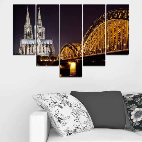 Canvas prints & wall decorative panels - 5 pieces №0267 » Brown, Black, Gray, Dark grey » City, Night, Bridge, Germany, Cathedral Form #6