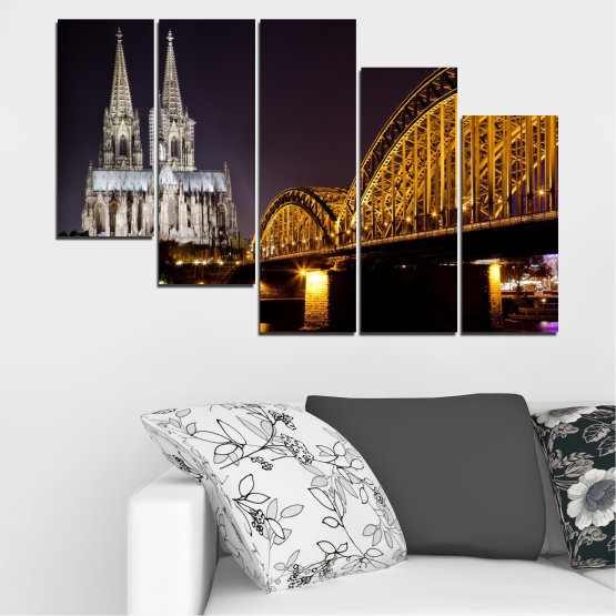 Canvas prints & wall decorative panels - 5 pieces №0267 » Brown, Black, Gray, Dark grey » City, Night, Bridge, Germany, Cathedral Form #7