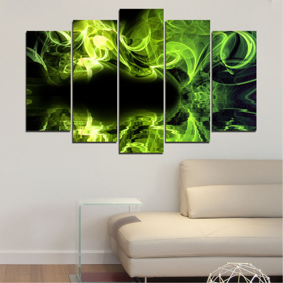 Canvas prints & wall decorative panels - 5 pieces №0268 » Green, Black » Abstraction, Reflection, Smoke Form #1