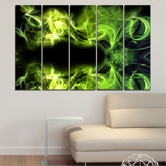 Canvas prints & wall decorative panels - 5 pieces №0268 » Green, Black » Abstraction, Reflection, Smoke Form #2
