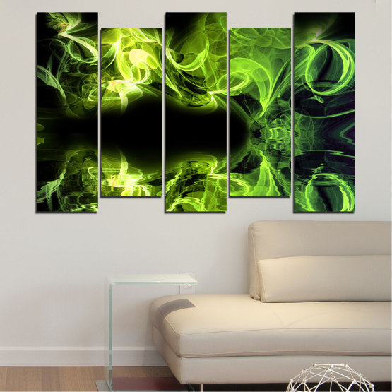 Canvas prints & wall decorative panels - 5 pieces №0268 » Green, Black » Abstraction, Reflection, Smoke Form #3
