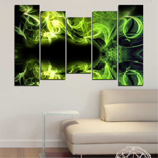 Canvas prints & wall decorative panels - 5 pieces №0268 » Green, Black » Abstraction, Reflection, Smoke Form #4