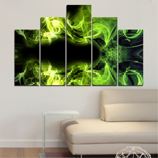 Canvas prints & wall decorative panels - 5 pieces №0268 » Green, Black » Abstraction, Reflection, Smoke Form #5