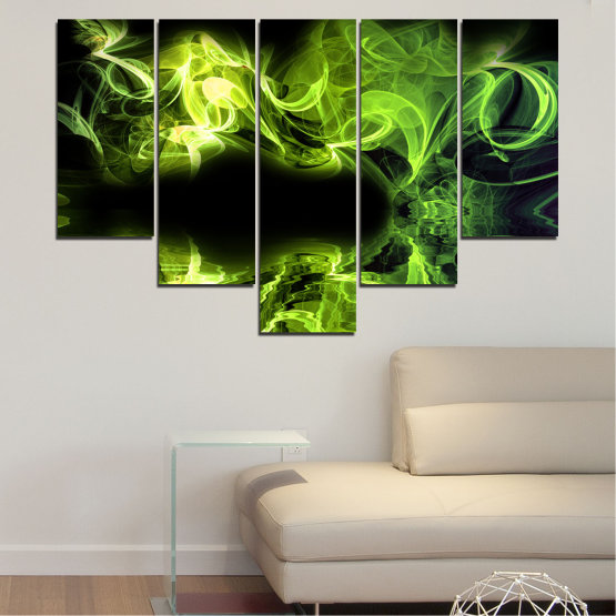 Canvas prints & wall decorative panels - 5 pieces №0268 » Green, Black » Abstraction, Reflection, Smoke Form #6