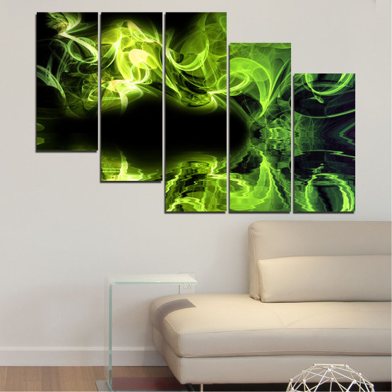 Canvas prints & wall decorative panels - 5 pieces №0268 » Green, Black » Abstraction, Reflection, Smoke Form #7