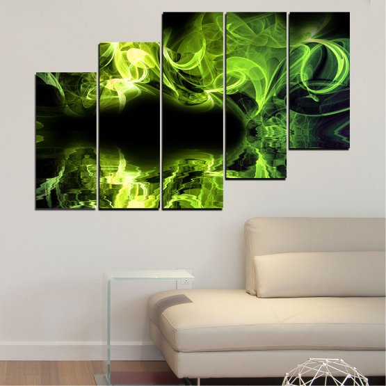 Canvas prints & wall decorative panels - 5 pieces №0268 » Green, Black » Abstraction, Reflection, Smoke Form #8