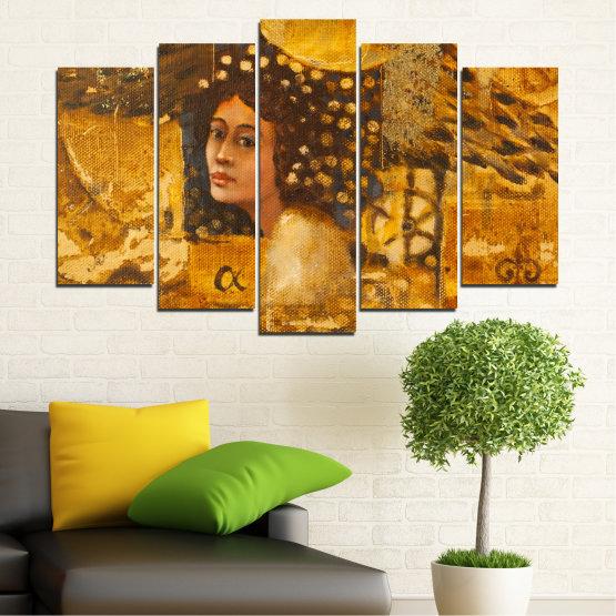 Декоративни панели и картини от канава - от 5 части №0027 » Жълт, Оранжев, Кафяв » Абстракция, Жена, Африка Form #1