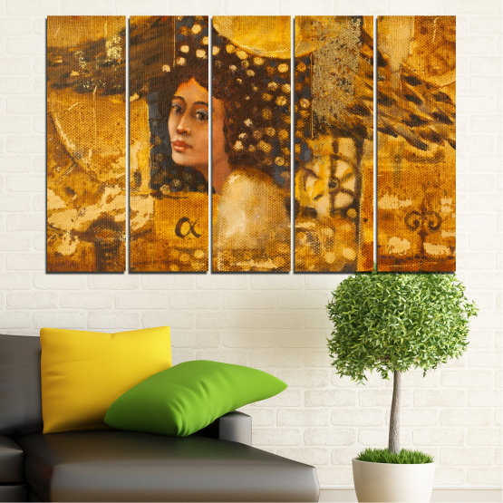 Canvas prints & wall decorative panels - 5 pieces №0027 » Yellow, Orange, Brown » Abstraction, Woman, Africa Form #2