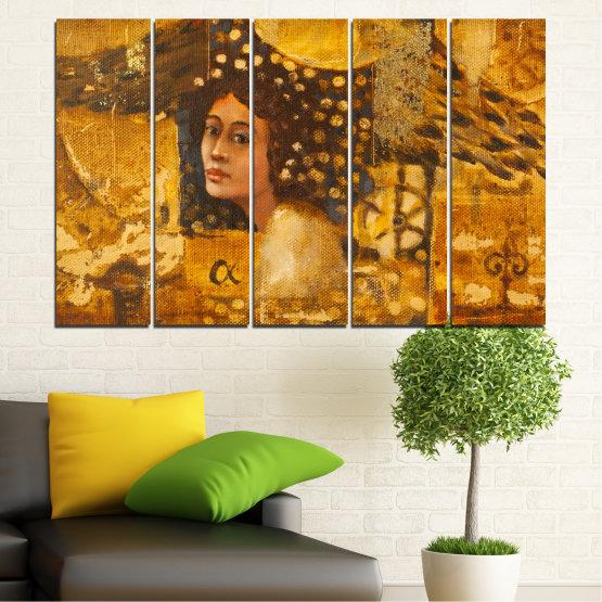 Декоративни панели и картини от канава - от 5 части №0027 » Жълт, Оранжев, Кафяв » Абстракция, Жена, Африка Form #2