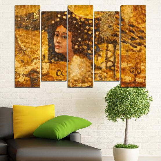 Декоративни панели и картини от канава - от 5 части №0027 » Жълт, Оранжев, Кафяв » Абстракция, Жена, Африка Form #3