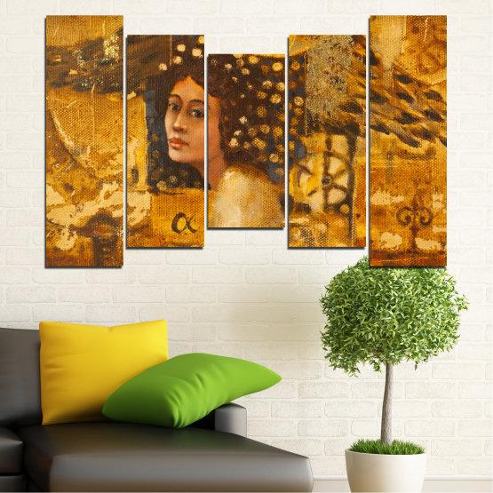 Декоративни панели и картини от канава - от 5 части №0027 » Жълт, Оранжев, Кафяв » Абстракция, Жена, Африка Form #4