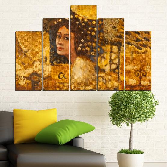 Декоративни панели и картини от канава - от 5 части №0027 » Жълт, Оранжев, Кафяв » Абстракция, Жена, Африка Form #5