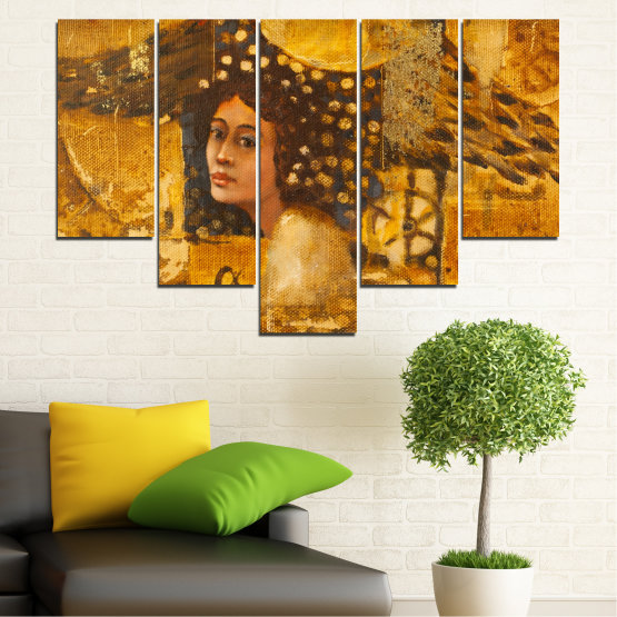 Canvas prints & wall decorative panels - 5 pieces №0027 » Yellow, Orange, Brown » Abstraction, Woman, Africa Form #6