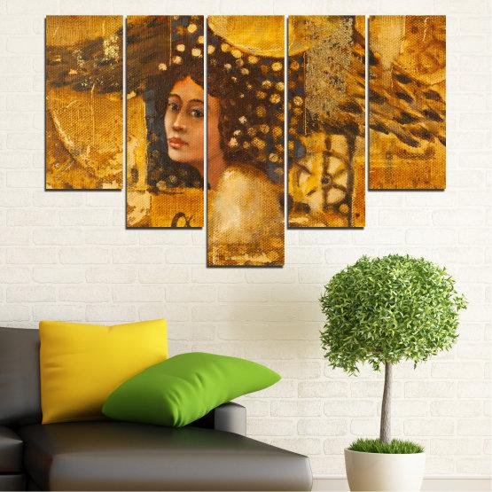 Декоративни панели и картини от канава - от 5 части №0027 » Жълт, Оранжев, Кафяв » Абстракция, Жена, Африка Form #6