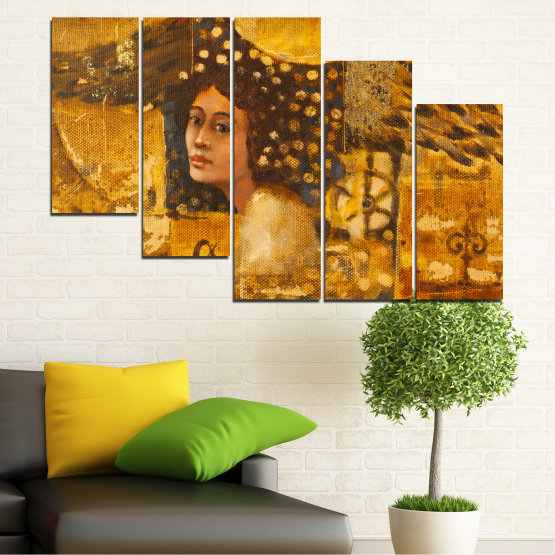 Canvas prints & wall decorative panels - 5 pieces №0027 » Yellow, Orange, Brown » Abstraction, Woman, Africa Form #7