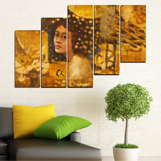 Canvas prints & wall decorative panels - 5 pieces №0027 » Yellow, Orange, Brown » Abstraction, Woman, Africa Form #8