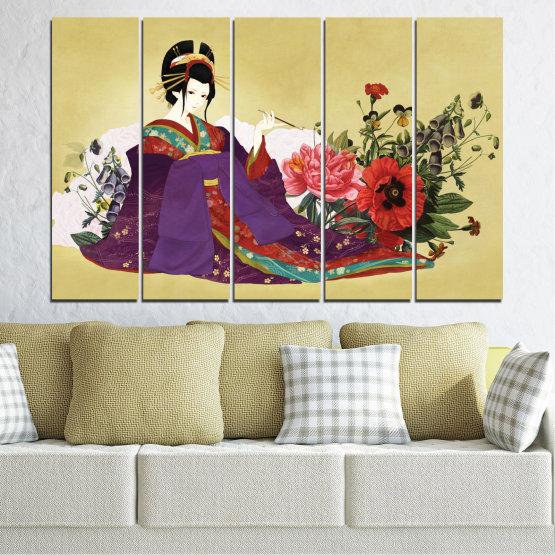 Декоративни панели и картини от канава - от 5 части №0270 » Червен, Зелен, Бял, Бежов, Тъмно сив » Жена, Гейша, Япония Form #2