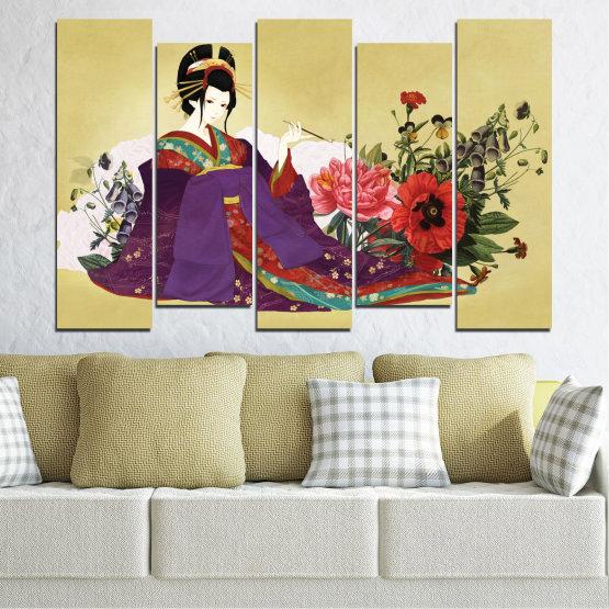 Декоративни панели и картини от канава - от 5 части №0270 » Червен, Зелен, Бял, Бежов, Тъмно сив » Жена, Гейша, Япония Form #3