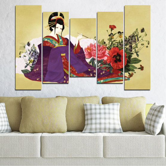 Декоративни панели и картини от канава - от 5 части №0270 » Червен, Зелен, Бял, Бежов, Тъмно сив » Жена, Гейша, Япония Form #4