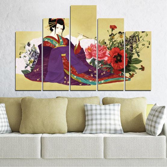 Декоративни панели и картини от канава - от 5 части №0270 » Червен, Зелен, Бял, Бежов, Тъмно сив » Жена, Гейша, Япония Form #5