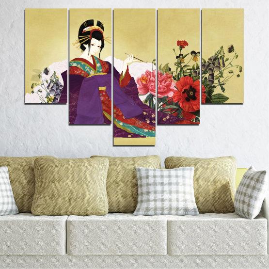 Декоративни панели и картини от канава - от 5 части №0270 » Червен, Зелен, Бял, Бежов, Тъмно сив » Жена, Гейша, Япония Form #6
