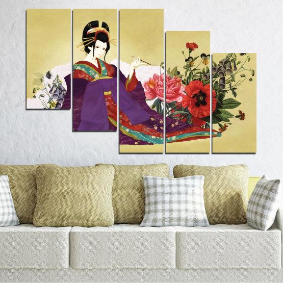 Декоративни панели и картини от канава - от 5 части №0270 » Червен, Зелен, Бял, Бежов, Тъмно сив » Жена, Гейша, Япония Form #7