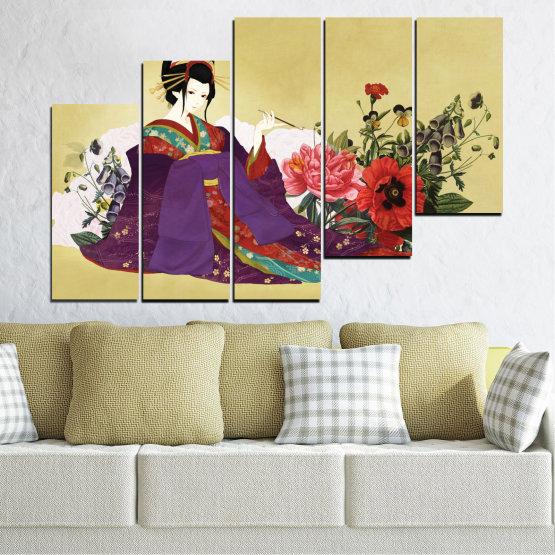 Декоративни панели и картини от канава - от 5 части №0270 » Червен, Зелен, Бял, Бежов, Тъмно сив » Жена, Гейша, Япония Form #8