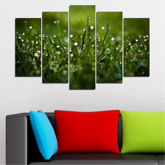 Canvas prints & wall decorative panels - 5 pieces №0271 » Green, Black, Dark grey » Nature, Drops, Meadow Form #1