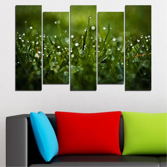 Canvas prints & wall decorative panels - 5 pieces №0271 » Green, Black, Dark grey » Nature, Drops, Meadow Form #3