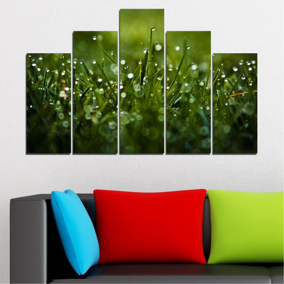 Canvas prints & wall decorative panels - 5 pieces №0271 » Green, Black, Dark grey » Nature, Drops, Meadow Form #5