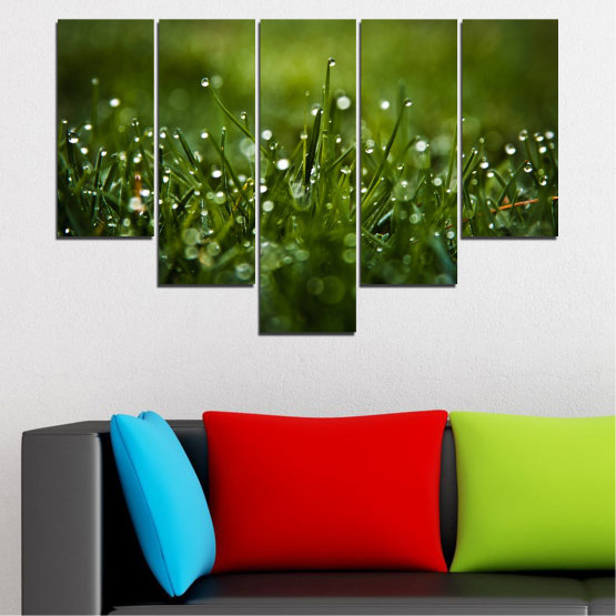 Canvas prints & wall decorative panels - 5 pieces №0271 » Green, Black, Dark grey » Nature, Drops, Meadow Form #6