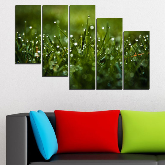 Canvas prints & wall decorative panels - 5 pieces №0271 » Green, Black, Dark grey » Nature, Drops, Meadow Form #7