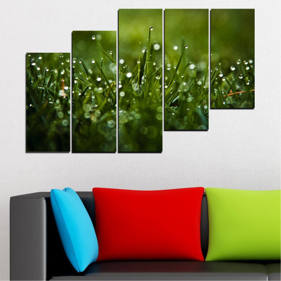 Canvas prints & wall decorative panels - 5 pieces №0271 » Green, Black, Dark grey » Nature, Drops, Meadow Form #8