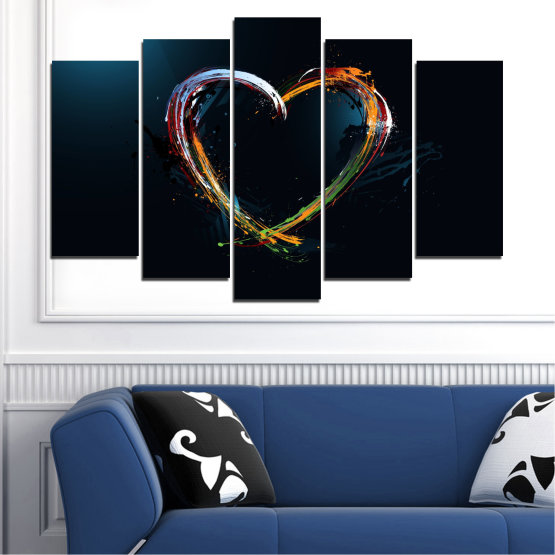 Canvas prints & wall decorative panels - 5 pieces №0272 » Red, Blue, Black, White, Dark grey » Abstraction, Heart, Lines Form #1