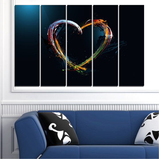 Canvas prints & wall decorative panels - 5 pieces №0272 » Red, Blue, Black, White, Dark grey » Abstraction, Heart, Lines Form #2